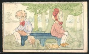 Ausmal-AK The Little Rift, Junge und Mädchen sitzen auf einer Parkbank, Kaputte Puppe