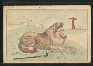 Ausmal-AK Schäferhund mit Stock und Schafen auf der Weide