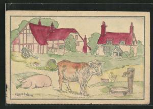 Ausmal-AK Stier mit Hühnern und einem Schwein auf der Wiese