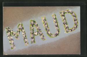 AK Name Maud aus Blumen, Namenstag