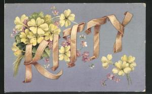 AK Name Daisy aus Bändern mit Kleeblättern, Namenstag