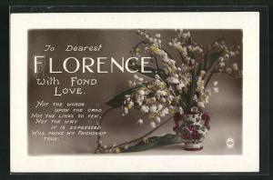 Präge-AK Glückwunsch zum Namenstag Florence, Vase mit Maiglöckchen