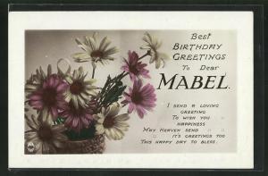 Präge-AK Glückwunsch zum Namenstag Mabel, Korb mit Blumen