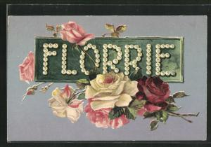 AK Name Florrie mit Rosen, Namenstag