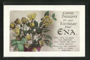 Präge-AK Glückwunsch zum Namenstag Ena, Korb mit gelben Rosen
