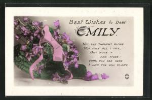 Präge-AK Glückwunsch zum Namenstag Emily, Korb mit Blumen