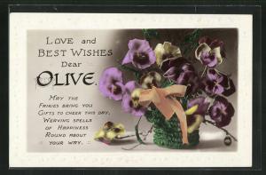 Präge-AK Glückwunsch zum Namenstag Olive, Blumenkorb mit Stiefmütterchen