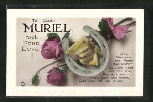 Präge-AK Glückwunsch zum Namenstag Muriel, Hufeisen mit Rosen