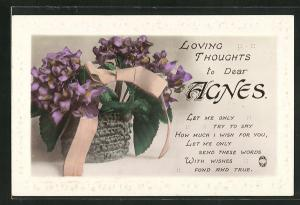 AK Loving thoughts to dear Agnes, Namenstag