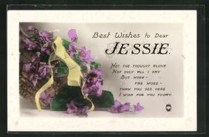 AK Best Wishes to Dear Jessie, Namenstag