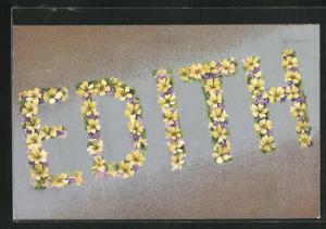 AK Edith, Namenstag, Blütenbuchstaben