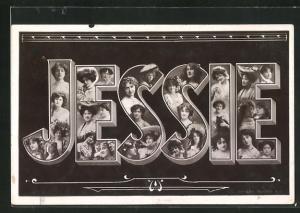 AK Jessie, Namenstag, Buchstaben mit Frauenköpfen