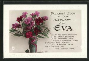 AK Fondest Love on your Birthday dear Eva, Geburtstag