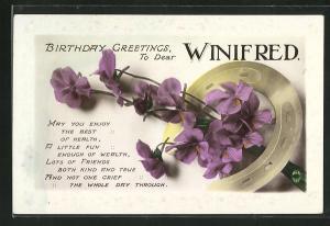 AK Birthday Greetings to dear Winifred, Geburtstag