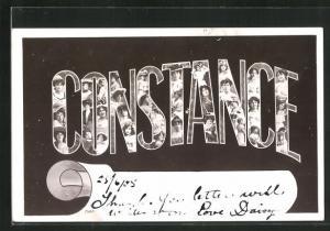 AK Constance, Namenstag, Buchstaben mit Frauenköpfen
