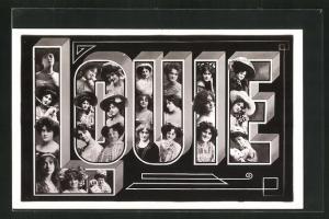 AK Louie, Namenstag, Buchstaben mit Frauenköpfen