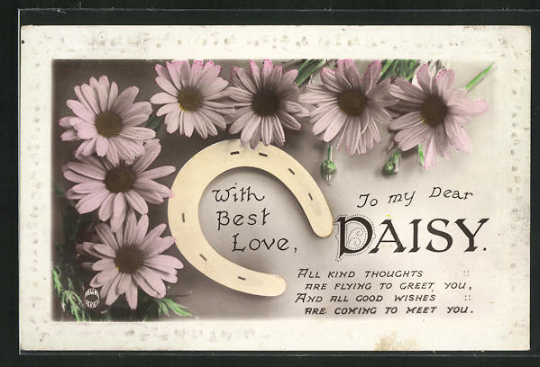 AK With best Love to my Dear Daisy, Namenstag, Hufeisen 0