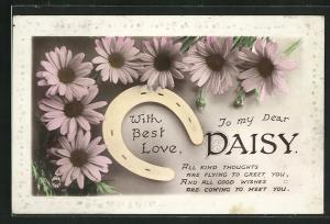 AK With best Love to my Dear Daisy, Namenstag, Hufeisen
