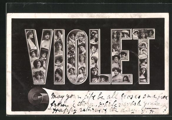 AK Violet, Namenstag, Buchstaben mit Frauenköpfen 0