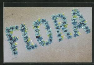AK Flora, Namenstag, Blütenbuchstaben