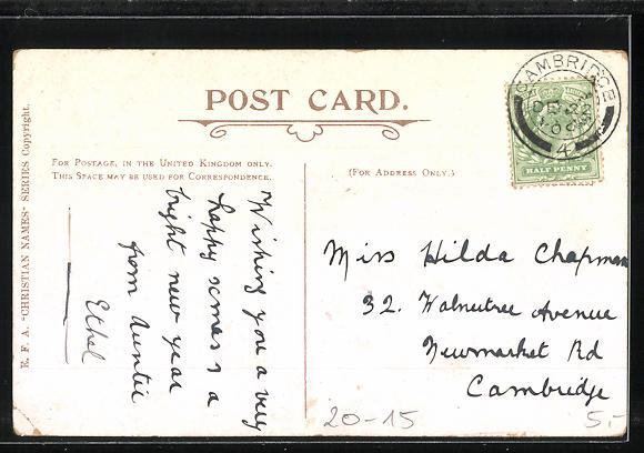 AK Hilda, Namenstag, Buchstaben mit Blüten 1