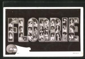 AK Florrie, Namenstag, Buchstaben mit Frauenköpfen