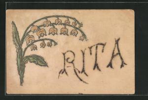 Glitzer-AK Rita, Namenstag, Maiglöckchen