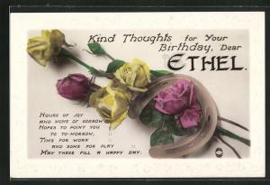 AK Kind Thoughts for Your Birthday, dear Ethel, Geburtstag, Hufeisen und Rosen