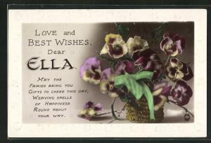AK Love and Best Wishes dear Ella, Namenstag, Stiefmütterchen