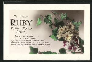 AK To dear Ruby with find Love, Namenstag, Blumen