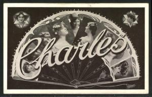 AK Charles, Namenstag, Fächer mit Frauenportraits
