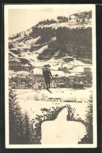 AK Engelberg, Skispringer beim Absprung auf der Titlis-Schanze