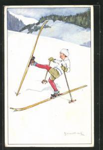 Künstler-AK Knabe verrenkt sich beim Skifahren