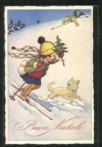 Künstler-AK Mädchen auf Skiern bei der Abfahrt