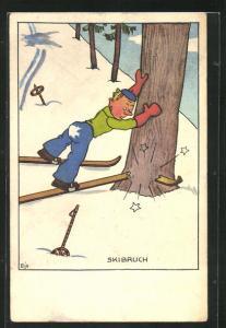 Künstler-AK Skibruch, Skifahrer fährt gegen einen Baum