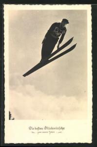 AK Skispringer nach dem Absprung