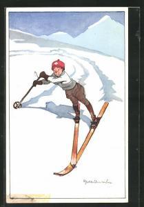 Künstler-AK Ängstlicher Skifahrer kurz vor dem Fall