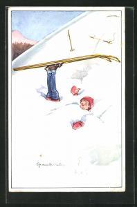Künstler-AK Skifahrer ist im Schnee versunken