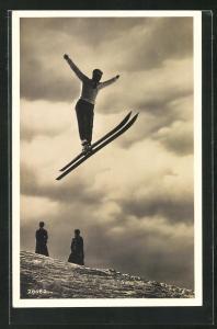 Foto-AK Skispringer beim Absprung