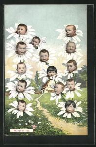 AK Buchstabe N aus Gänseblümchen mit Babygesichtern