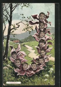 AK Cyclamen, Buchstabe J aus Veilchen mit Babygesichtern
