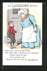 Künstler-AK Limerick, Alte Frau und Knabe