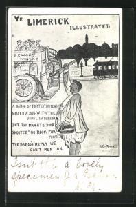 Künstler-AK Limerick, Herr winkt dem Bus hinterher