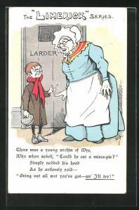 Künstler-AK Limerick, Knabe und alte Frau