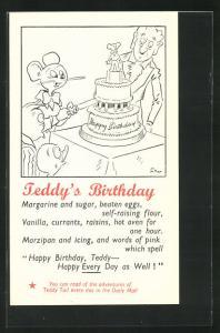 Künstler-AK Teddy`s Birthday, Maus schneidet die Torte an