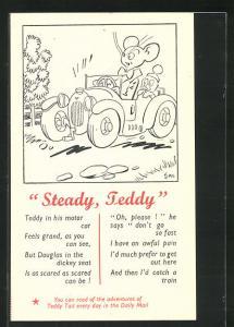 Künstler-AK Steady, Teddy, Maus fährt Auto