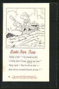 Künstler-AK Late For Tea, Mäuse im Ruderboot