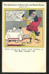 Künstler-AK The Adventures of Sunny Jim and Dismal David, Serie No. 1., The Boys Leader