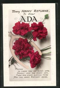 Präge-AK Namenstags-Grüsse Ada mit Roten Nelken