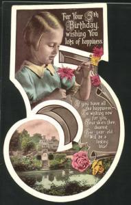AK Glückwunsch zum 5. Geburtstag, Karte in Gestalt der Ziffer 5